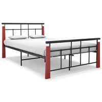 vidaXL Рамка за легло, метал и дъбов масив, 120x200 см
