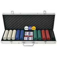 vidaXL Покер комплект с 500 чипа, алуминий