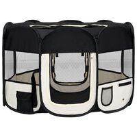vidaXL Сгъваема кучешка кошара с чанта за носене, черна, 110x110x58 см
